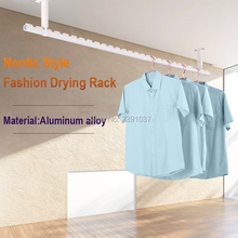 Nordic style Drying rack with Card Slot Fashion Aluminum alloy Clothes Drying rod Balcony ceiling-mounted Clothes rack