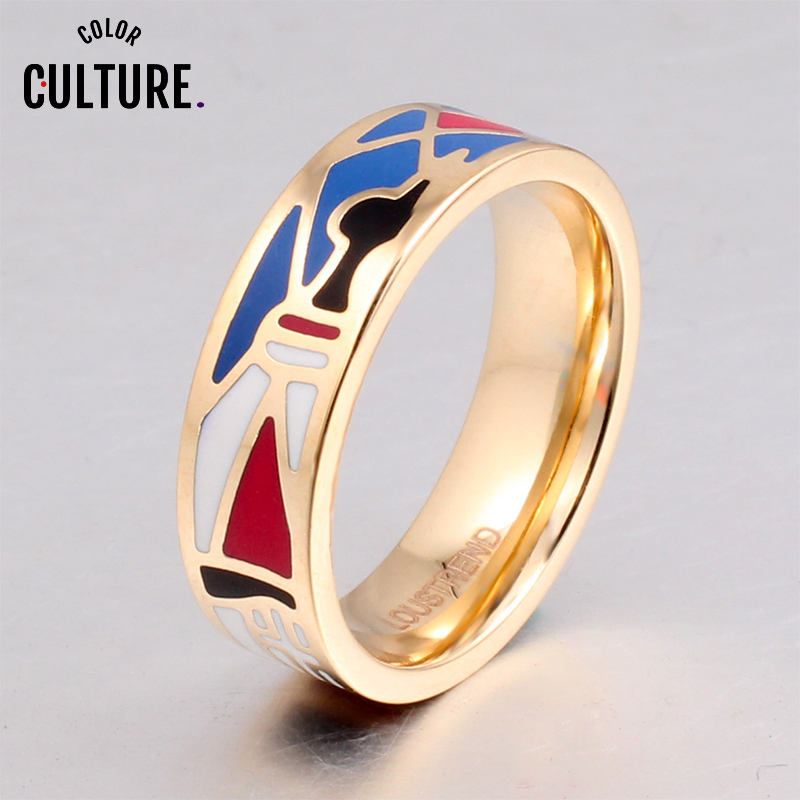 Female rings TOP Quality Gilded Multi-Color Fashion Jewelry Enamel Ring 6mm Width
