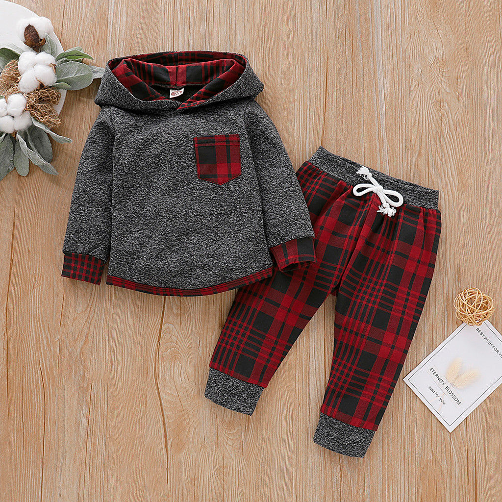 Casual Toddler Baby Boys Hooded Outfits Plaid Long Sleeve Tops Pants Clothes Set