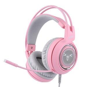 Image 3 - SOMIC G951 USB 7.1 Auricolare Surround Sound Gaming Headset Cuffia Bass Casque con il Gatto Orecchio Mic di vibrazione per il PC Notebook Rosa I bambini Della Ragazza