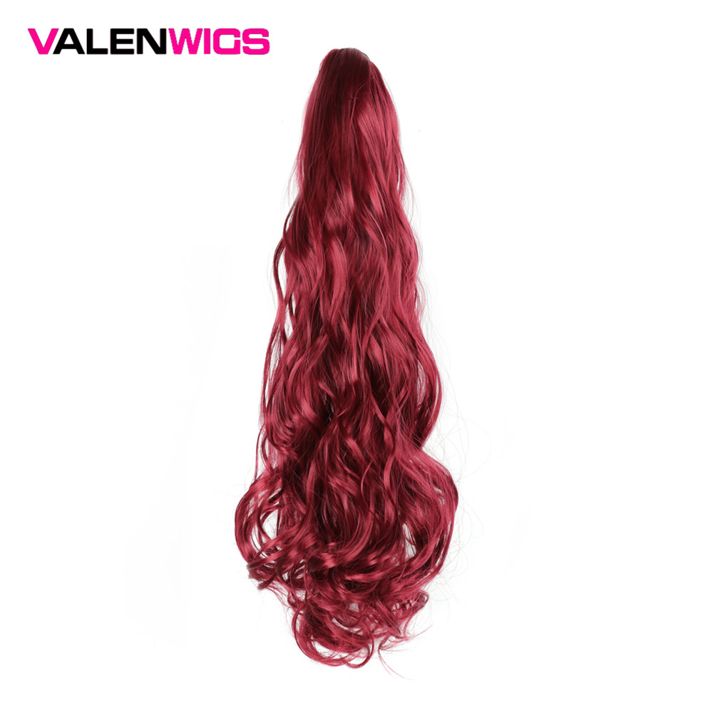 Valentwigs Long Wavy Claw Ponytail Clip On Synthetic Extension Wrap Around Jaw in Hair piece For Black White Women