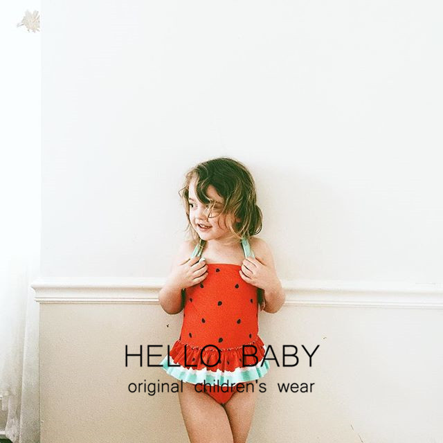 New Style Cute Girls Watermelon Bathing Suit Children Siamese Swimsuit Childrenswear Beach Bathing Suit A Generation Of Fat Whol