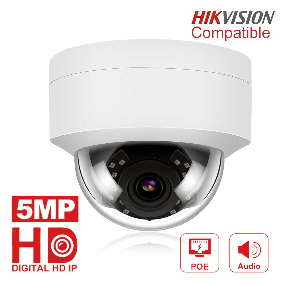5MP POE IP Camera met Microfoon, Audio, IP Security Dome Camera outdoor IP66 Indoor Outdoor ONVIF Compatibel Hikvision