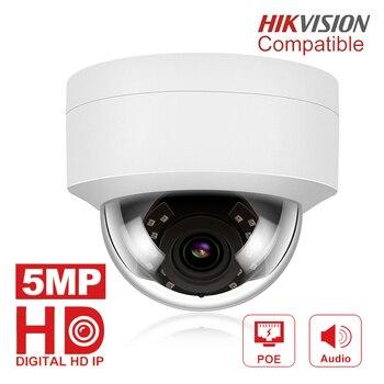 5MP POE kamera IP z mikrofonem, Audio, zabezpieczenia IP kamera kopułkowa zewnętrzna IP66 wewnętrzna zewnętrzna kompatybilna z ONVIF Hikvision