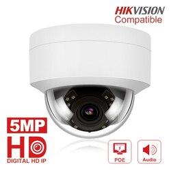 Cámara IP de 5MP con micrófono, Audio, cámara domo de seguridad IP exterior IP66 Interior Exterior ONVIF Compatible Hikvision