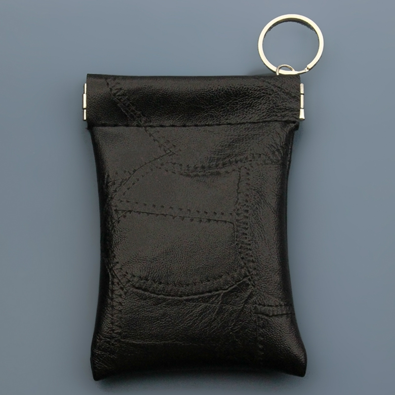 New Unisex Real Leather Key Case Holder Coin Pouch Cash Bag Purse Wallet KeyRing