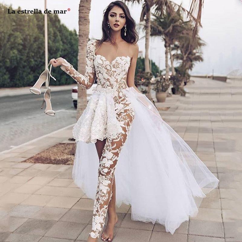 Country Wedding Jumpsuits With Detachable Train Lace Appliqued Sweetheart Long Sleeve Boho Wedding Dress vestido noiva praia