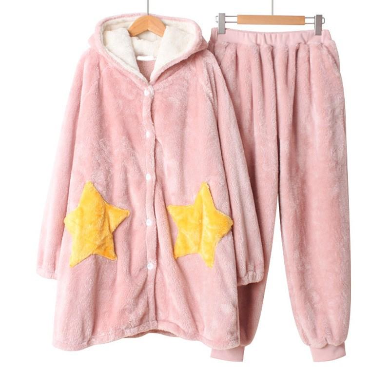 Hiver femme étoiles pyjamas ensembles Homewear corail vêtements de nuit chaud chemise de nuit à manches longues vêtements de nuit en flanelle