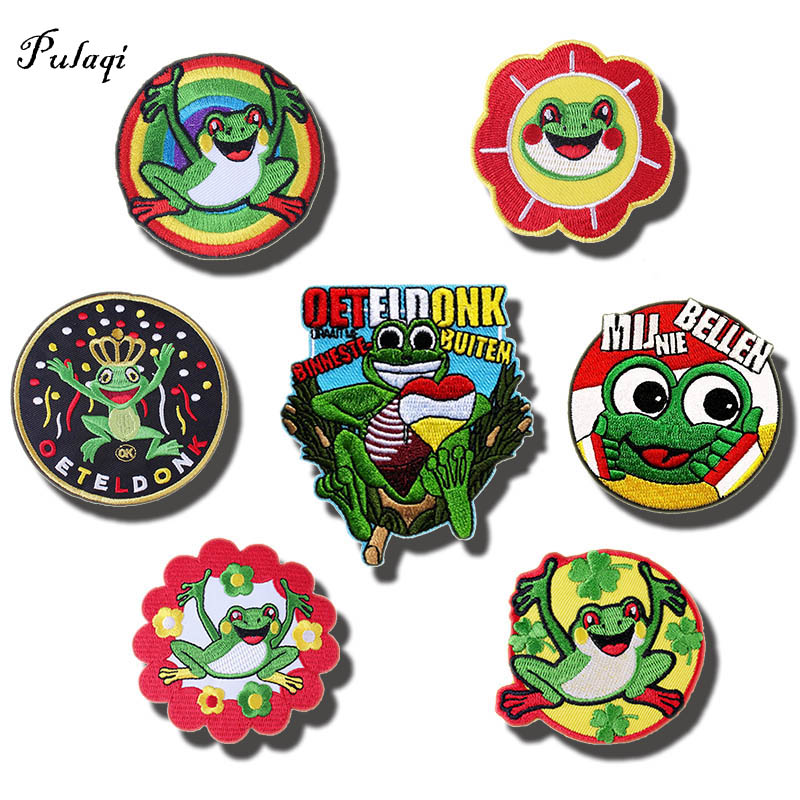 Pulaqi 7 pcs Oeteldonk Emblem Frogs Iron-on Patch For Netherland Carnival Embroidery Patches For Clothing Apparel Applique Patch