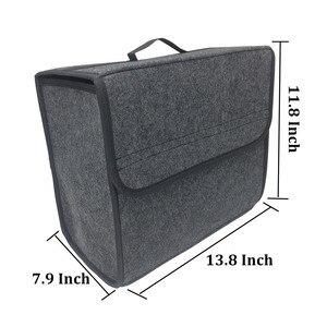 Image 2 - Buendeer 35x30x20 см органайзер для багажника автомобиля Складная войлочная сумка для хранения Нескользящая противопожарная автомобильная сумка для багажника для продуктов Органайзер серый/черный