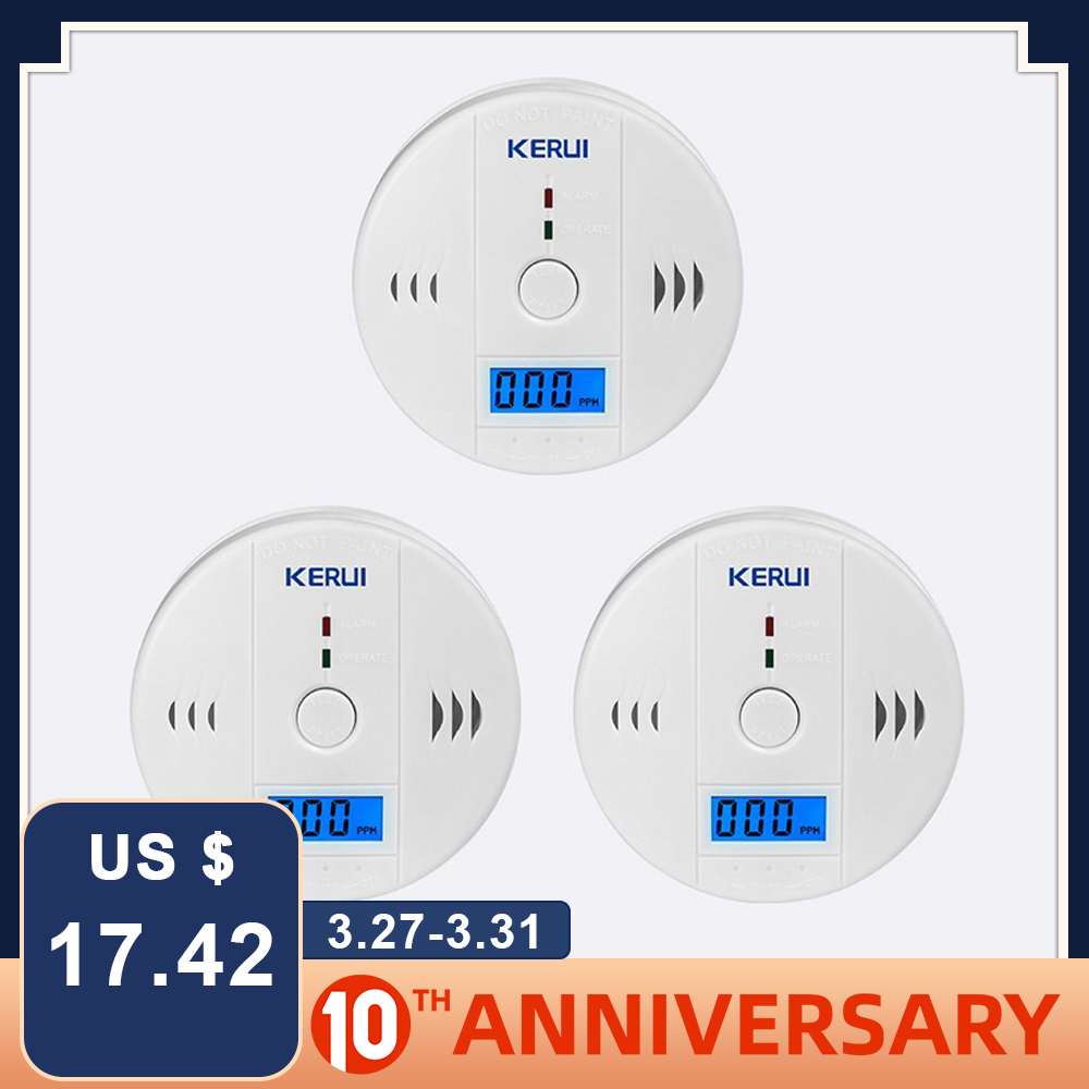 KERUI 3pcs LCD CO Gas Sensor Carbon Monoxide Detectors Indenpendent Work Carbon Monoxide Alarm For Home Security Fire
