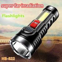 Linternas de luz potente recargable COB, reflector lateral, portátil, ultrabrillante, multifuncional, lámpara de largo alcance