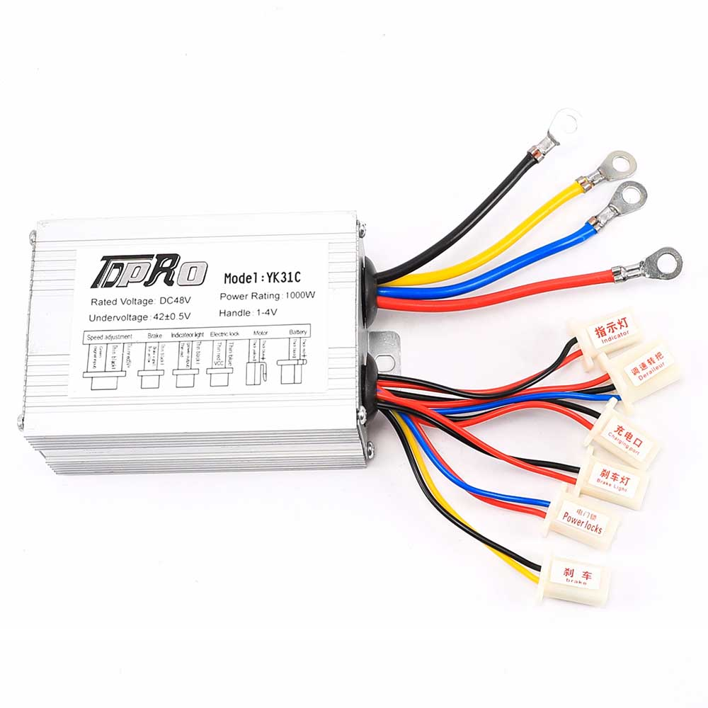 TDPRO 48V 1000W Electric Scooter Motor Brush Speed Controller Box For Go Kart ATV ebike For Electric Bike Bicycle Wheel Scooter