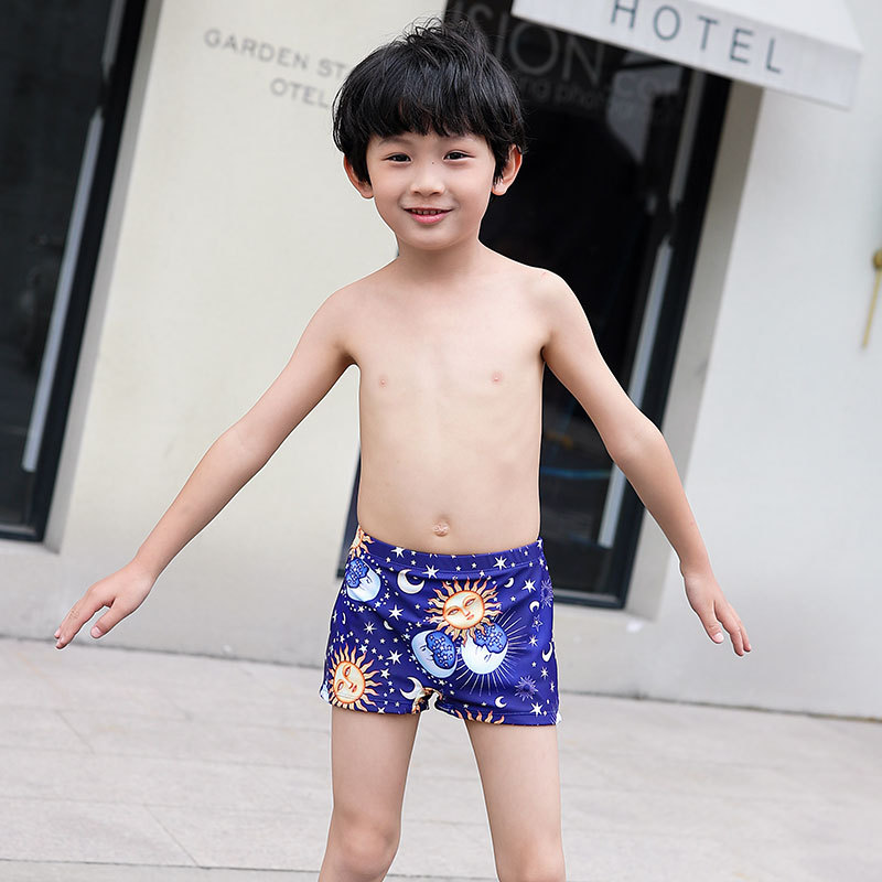 CHILDREN'S Swimming Trunks Boxer Swimsuit For Boys With Swim Cap Boy Swimming Trunks Small Children Quick-Dry Hot Springs Swimmi