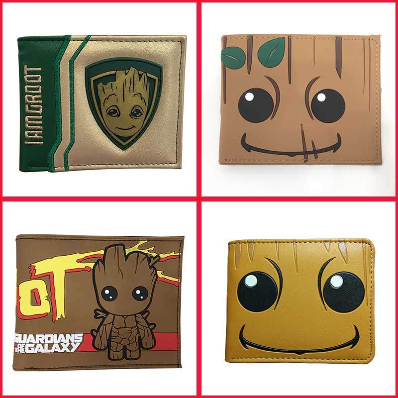 Cartoon Groot Wallet Leather Purse Anime Cosplay Card ID Holders Slot With Zipper Coin Pocket Kids Gift Short Wallets