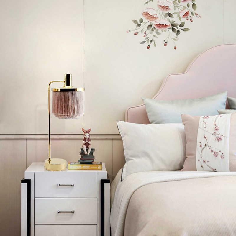Morden Simple Led Table Lamp Pink Fringed Princess Room Living Lightings Creative Tassels Decorate Iron Art Desk Lights Lamps Aliexpress