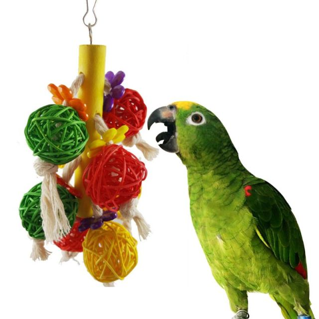 6 Pcs/set Pet Birds Swing Toys Parrots Chewing Hanging Perches Bells Small Parakeets Parrot Cage Bite Climbing Rope Toy 1