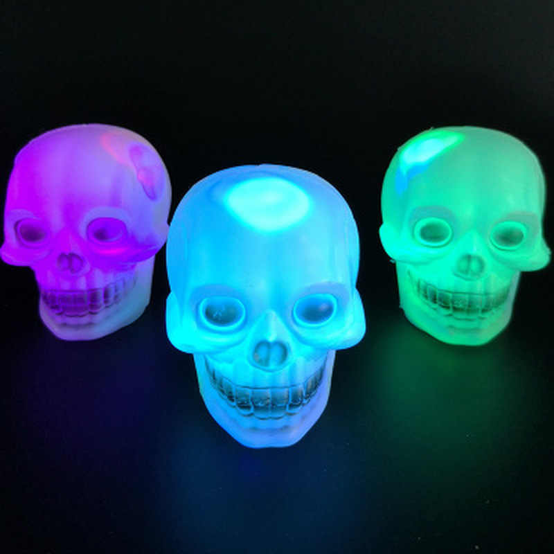 New Arrive LED Colorful Flash Skull Night Light Lamp Halloween Lights Party Decoration Gift Holiday Lighting Drop Shipping