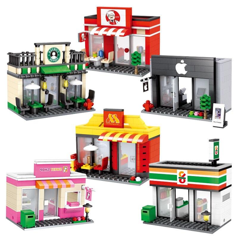 Kawaii Mini Street City 3D Retail Store Cafe Apple Lepinblocks McDonald KFCE Educational Building Block Toy for Kid Lepining