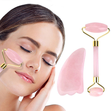 Jade Roller Face-Massager Lifting-Tool Beauty-Care Slimming Rose Natural