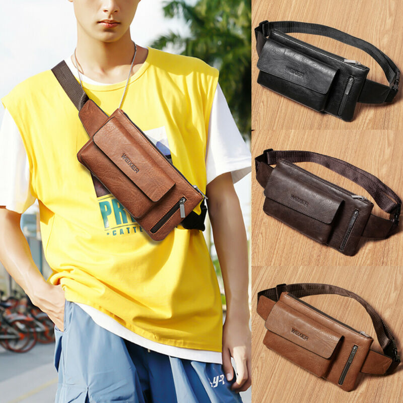 Men PU Leather Waist Bag Thin Personal Pocket Bag Strap Sling Shoulder Bag Outdoor Zipper Anti-theft Chest Bags