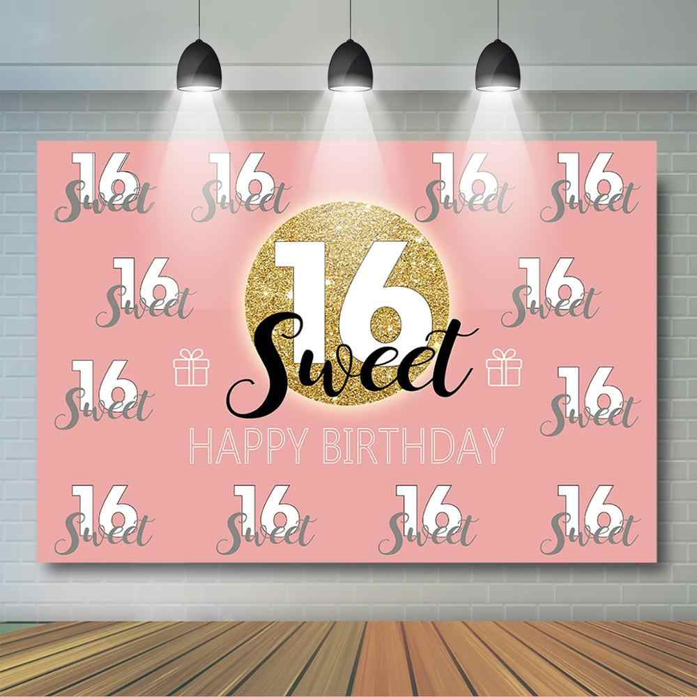 ローズゴールド甘い 16th誕生日パーティー背景プリンセスガールステップとリピート背景シックスティーン誕生日パーティーの装飾