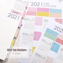 MyPretties 2 Sheets/Set 2021 2022 Calendar Tab Stickers Functional Planner Monthly Schedule Mark Agenda Stationery Stickers
