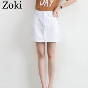 Image 5 - Zokiセクシーな女性デニムミニスカートファッション夏ハイウエスト韓国黒スカートブルーパッケージヒップジーンズ原宿プラスサイズ綿