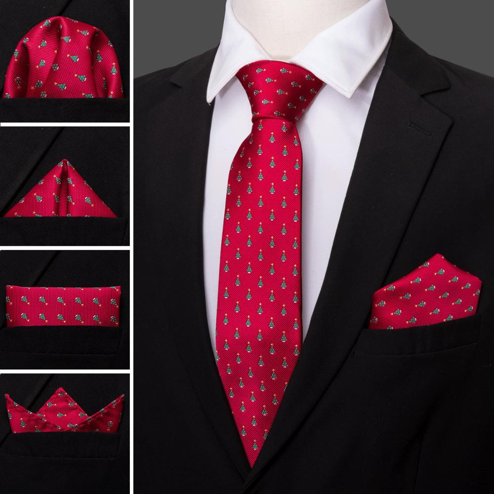 Christmas Tree Pattern Tie Silk Tie For Men Wedding Tie Party Necktie Handkerchief Cravat Barry.Wang Fashion Design Tie LS-5222