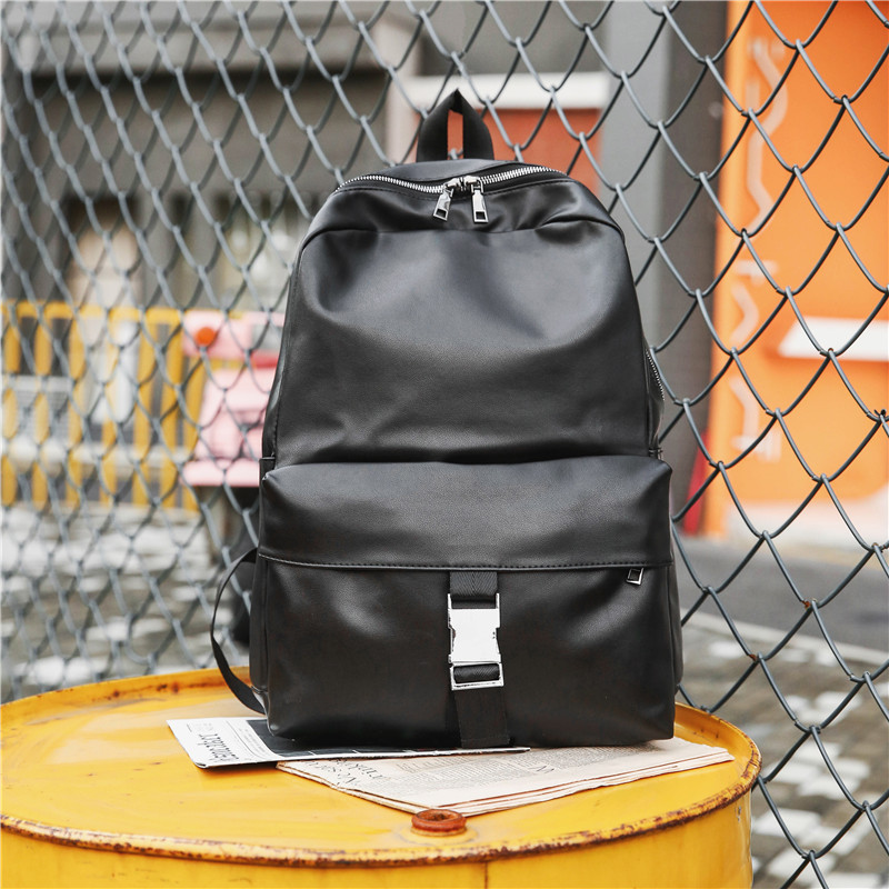 Backpack MEN'S Black PU Leather Europe And America Fashion High School And College Students School Bag Street Snap Cool Water Re image