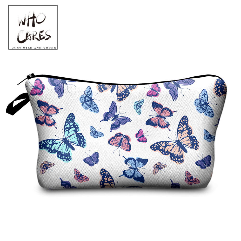 Who Cares Women Cosmetic Bag Butterfly Pattern 3D Print Animal  Toiletry Makeup Bags White Waterproof Storage Beauty Travel Bag