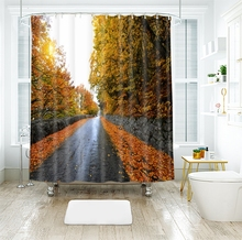 3d Natural Autumn Scenery Boulevard Wooden Bridge Shower Curtains Waterproof Thickened Bath for Bathroom Customizable