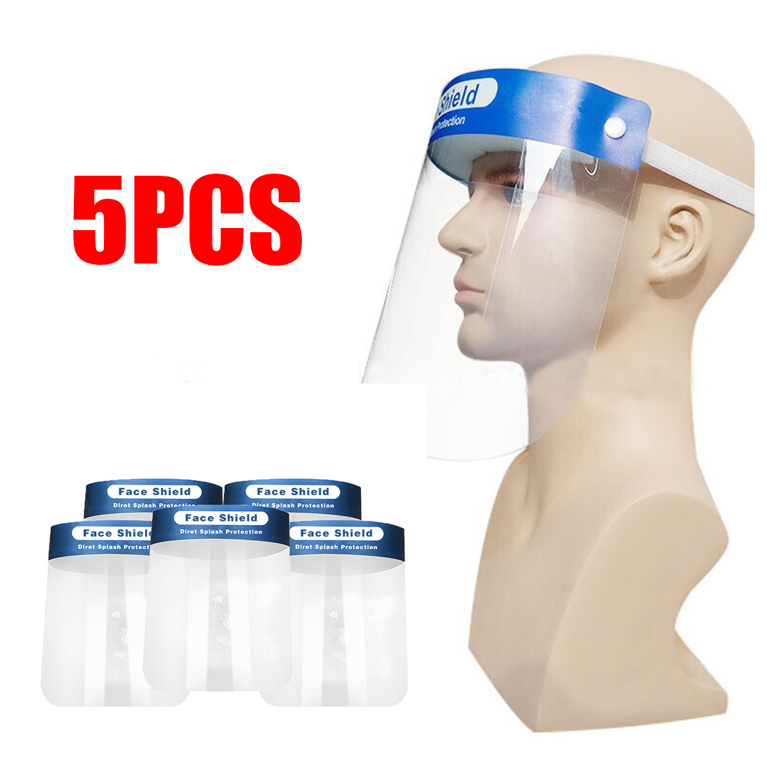 5 Pieces Safety Transparent Lens Protective Full Face Film Cover Adjustable Shield Plastic Anti-Fog Anti-Saliva Faceshield