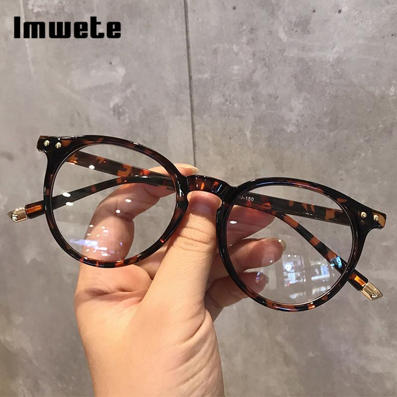 Imwete Fashionable Glasses Frame for Women Vintage Blue Light Computer Men Spectacle Round Optical Eyewear