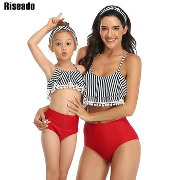 Riseado Striped Swimwear High Waist Bathing Suits Ruffled Swimsuit Women Mother and Daughter Bikini 2020 Sexy Tassel Beachwear цена 2017