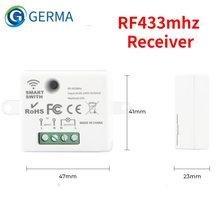 Germa mini sem fio inteligente interruptor de luz elétrica 433mhz rf relé receptor casa lâmpada led ligar/desligar 220v
