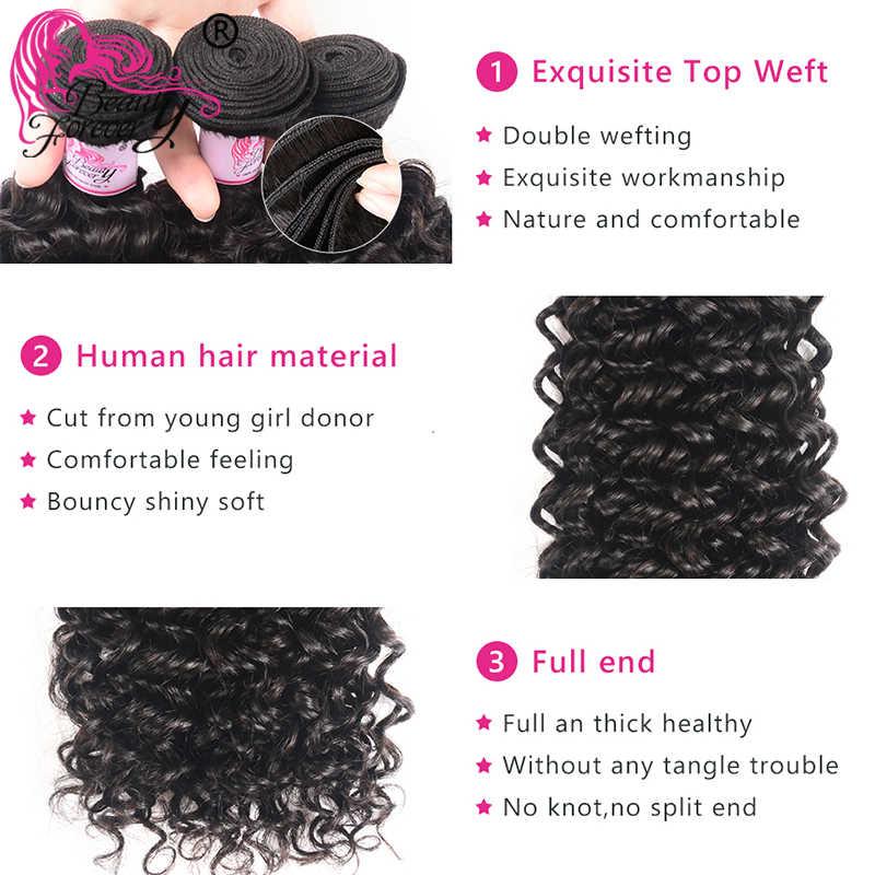 Schönheit Für Immer Malaysische Lockige Menschliche Haarwebart Bundles Mit 13*4 Spitze Frontal Schließung Freies Teil Remy Schließung
