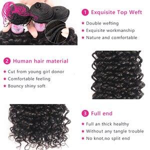 Image 2 - יופי לנצח מלזי מתולתל שיער טבעי Weave חבילות עם 13*4 תחרה פרונטאלית סגירת משלוח חלק רמי סגירה