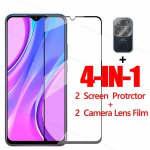 Image 1 - מלא דבק מסך מגן עבור Xiaomi Redmi 9 9A 9C 7A 8 הערה 9 9S 8 7 פרו זכוכית עבור Xiaomi Mi 10 לייט מזג זכוכית טלפון סרט