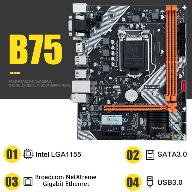 Huananzhi B75 Desktop Motherboard LGA1155 for i3 i5 i7 CPU Support <font><b>ddr3</b></font> Memory image