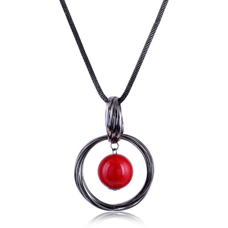 Bola de perlas simulada roja y blanca, collares con colgante, círculos, cadena larga negra para mujeres, Maxi collar, joyería de moda, regalos al por mayor