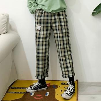 Casual Loose Preppy Style Women Cotton Pants Capris Plaid Cartoon Bear Embroidery Elastic Waist High School Student's Trousers