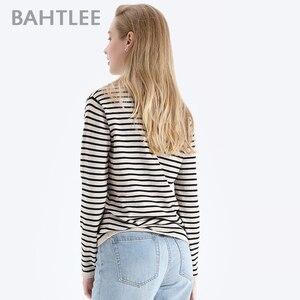 Image 4 - BAHTLEE printemps automne femmes laine pulls noir blanc rayé pull tricoté pull manches longues col rond Style ample