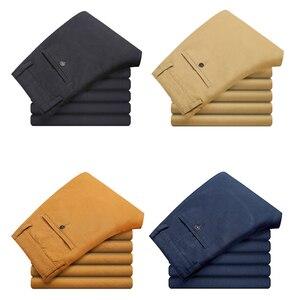 Image 5 - VOMINT Pantalones elásticos informales de algodón para hombre, pantalón largo y recto de alta calidad, 4 colores de talla grande, 42 44 46