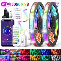 LED Streifen Lichter RGB 5050 WIFI Alexa musik Bluetooth luces Led RGB SMD 2835 Flexible Wasserdichte Lampe Band Diode und adapter