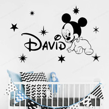 Wall Decal Custom Name Mickey Vinyl wall Sticker  Personalized Wall Decor Kids Room  art mural JH238 eco friendly custom name airplane clouds decal nursery decor boys kids room decor vinyl wall sticker airplanes with clouds y 80