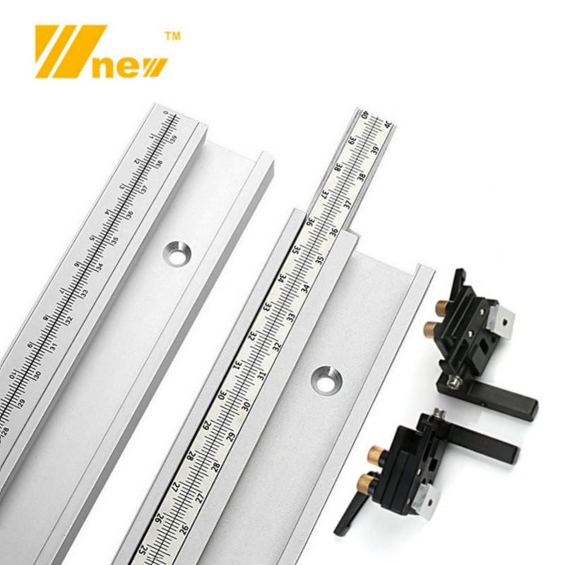 45 Chute T Track With Scale Alloy T-tracks Slot Miter Track 300-800mm Woodworking Saw Table Workbench DIY Tools