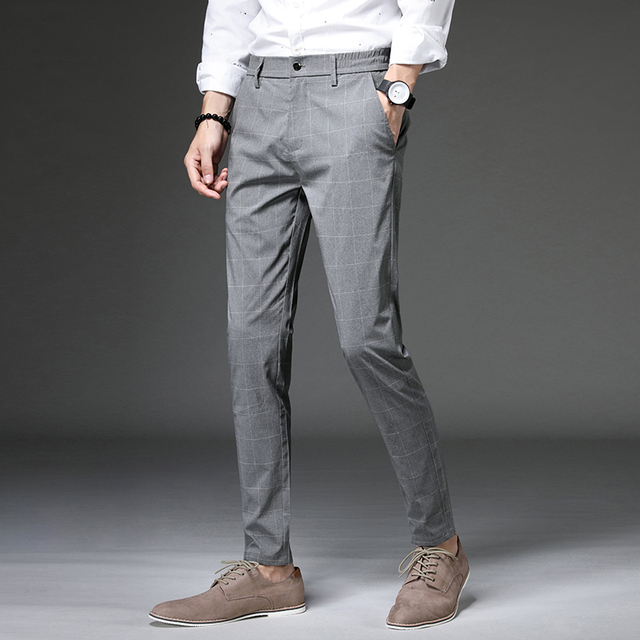Jantour 2020 Spring New Casual Pants Men Slim Fit Plaid Fashion Gray black Trousers Male Brand Clothing business work pant 28-38 39