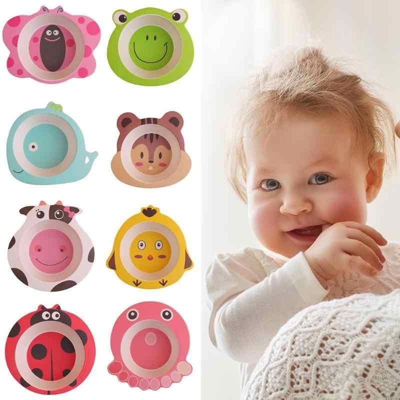 Platos de animales de dibujos animados de colores cuencos de fibra de bambú para bebés vajilla de alimentación para bebés niños pequeños platos portátiles naturales