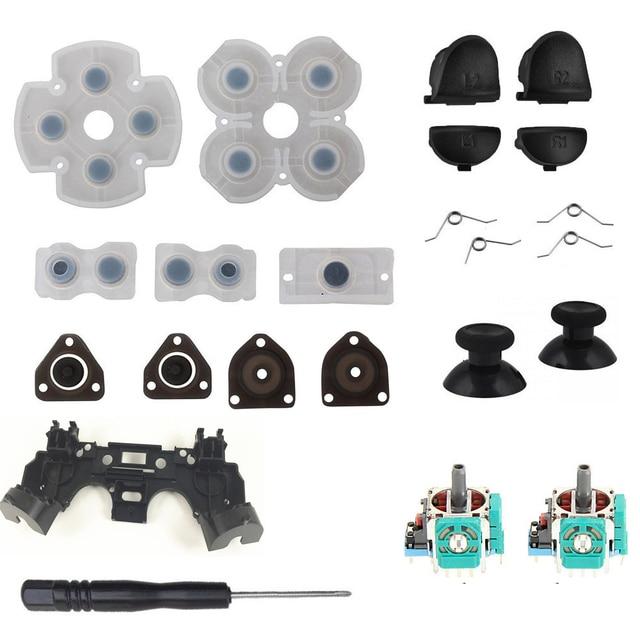 For PS4 Controller Repair Set L1 R1 L2 R2 Trigger Buttons 3D analog Joysticks Thumb Sticks Cap Conductive Rubber Screwdriver Kit